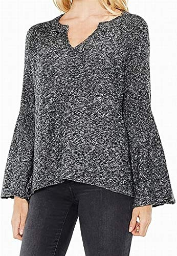 Two by Vince Camuto Womens Marled Knit V-Neck Sweater Black XS