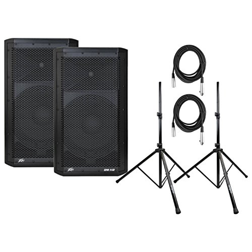- Pair of Peavey DM112 Powered Loud Speakers with Speaker Stands and 2 XLR Cables