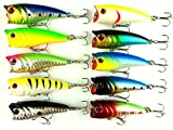 Hengjia 10pcs/lot Hard Plastic Popper Topwater Floating Fishing Lures Surface Water Bass Baits Hooks Tackle 6cm 7g