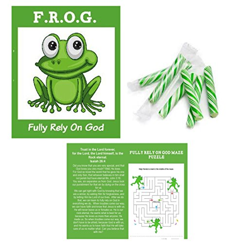 Fully Rely On God Frog Bible Tracts with Candy, Bulk, Halloween Alternatives, Trunk or Treat, Bulk, 25 Pack