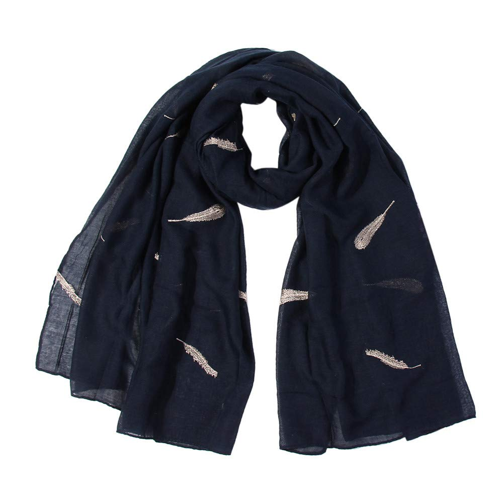 Lovewe Women Feather Embroidered Scarf,Soft Shawl,Long Scarf (Navy)
