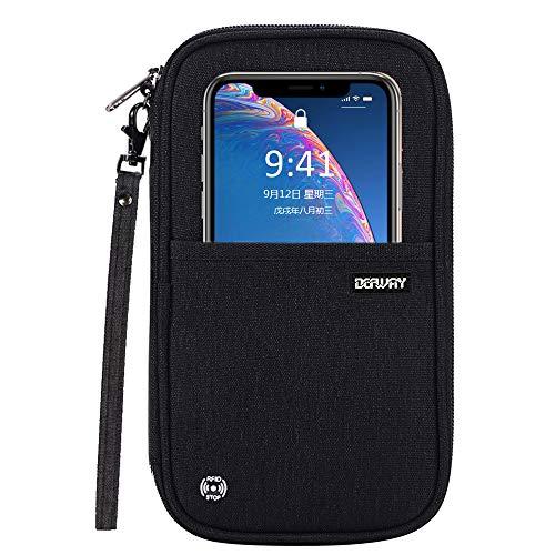 (Defway Passport Wallet RFID Blocking Travel Organizer Bag, Family Passport Holder with ID Window)