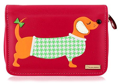 Leather New Purse Sausage Kukubird Dog Designs Wallet Ladies Cartoon Fuschia Synthetic Medium Girls Dachshund 1HqpS