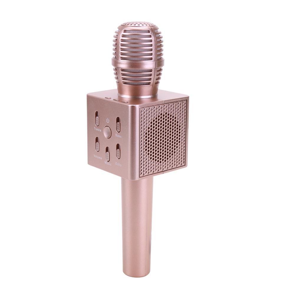 Alloet Colorful Wireless Bluetooth Karaoke Microphone Mini Speaker(Rose Gold)