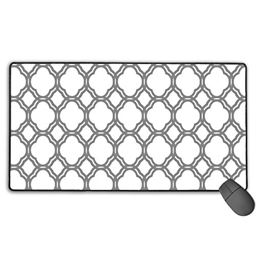 Moroccan Tile Quatrefoil Gray and White Lattice Mouse Pads Non-Slip Rubber Gaming Mouse Pad Mousepad/Mouse Mats Case Cover for Computers Laptop 15.7 Inches X 27.5 -