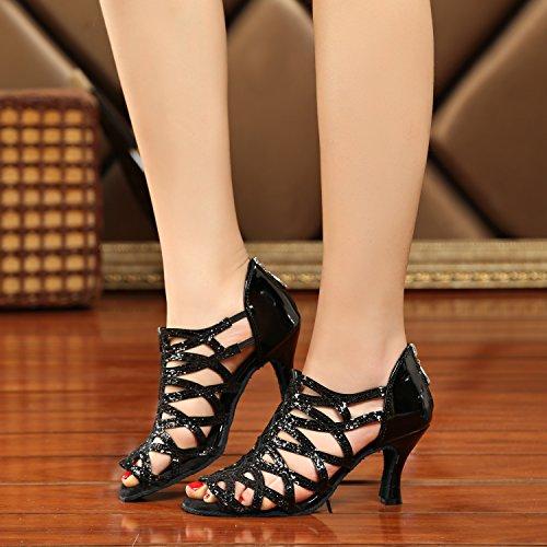 Minishion Gl240 Femmes Cut-out Zip Synthétique Latin Salle De Bal Tango Salsa Chaussures De Danse De Mariage Sandales De Bal Noir-7.5cm Talon
