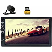 Backup Camera Included! EinCar 7 Touch Screen Car Stereo In Dash GPS Navigation MP5/MP3 Player AM FM Radio Multimedia Receiver 2 Din 1080p Video Player Support USB/SD/Remote Control+8GB Map Card