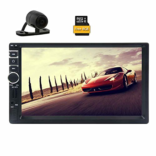 Backup Camera Included! EinCar 7'' Touch Screen Car Stereo In Dash GPS Navigation MP5/MP3 Player AM FM Radio Multimedia Receiver 2 Din 1080p Video Player Support USB/SD/Remote Control+8GB Map Card
