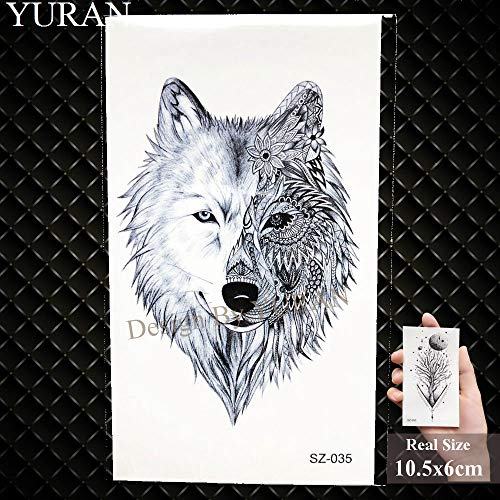 (GVDTYKJF Tattoos Sticker Pencil Sketch Tattoos Arm Tribe Wolf Tattoos Stickers Womakeup Fox Water Transfer Tattoos Geometric Totem Gsz035)