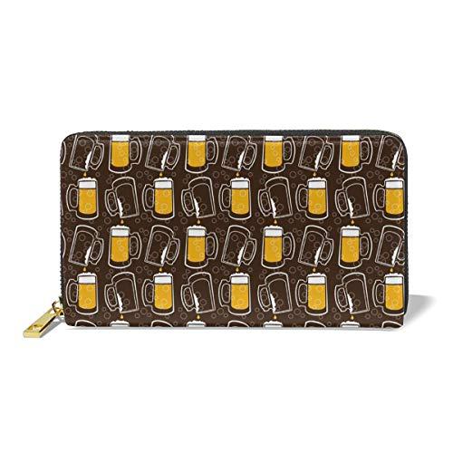 Women Genuine Leather Wallets Beer Cup Credit Card Holder Organizer Ladies Purse Zipper Around Clutch Cash Pocket