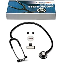 "Classic Dual Head Cardiology Stethoscope for Medical and Clinical Use by Paramed - Suitable for Men Women Nurse Pediatric Infant - 22"" Black"