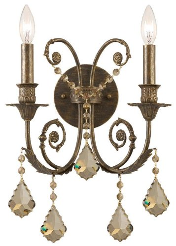 Crystorama Golden Teak Strass Crystal - Traditional Classic 2 Light Crystal Candle Wall Sconce Crystal: Golden Teak Swarovski Strass, Finish: English Bronze
