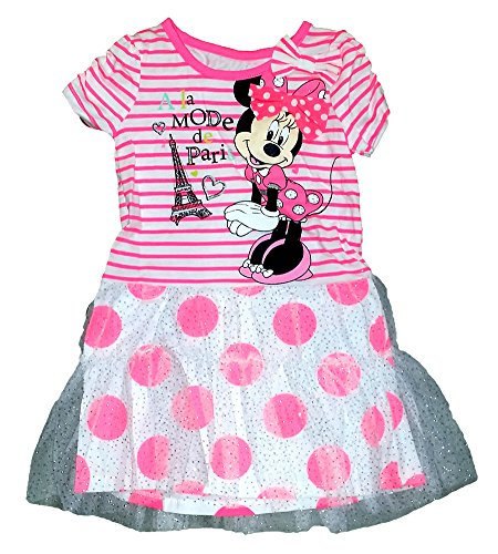 ' A la Mode a Paris ' Girls Striped Dress with Polka Dot Flounce - Pink White (Youth Girls Mode Pants)