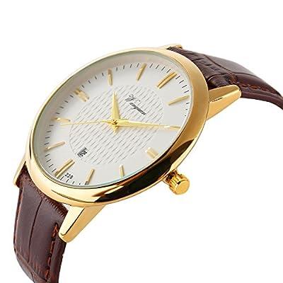 Men Watch Ultra Thin Watch Gold Watch calendar Sport Watches Mens Waterproof Leather Quartz Watch Gold by Misskt