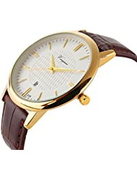 Men Watch Ultra Thin Watch Gold Watch Calendar Sport...