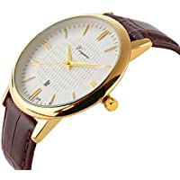 Men Watch Ultra Thin Watch Gold Watch Calendar Sport Watches Mens Waterproof Leather Quartz Watch Gold
