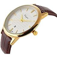 Men Watch Ultra Thin Watch Gold Watch Calendar Sport Watches Mens Waterproof Leather Quartz Watch...