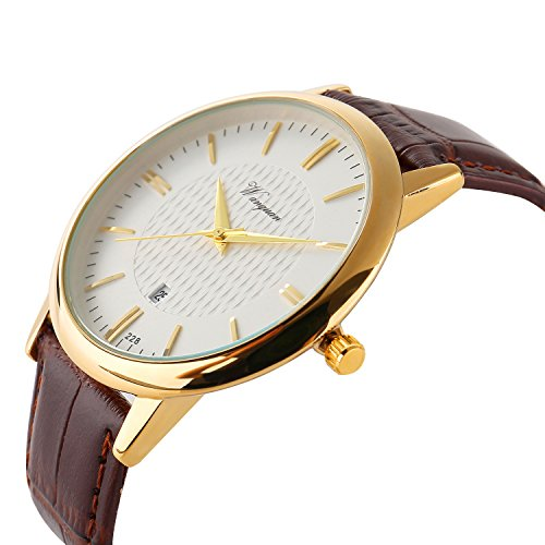 Men Watch Ultra Thin Watch Gold Watch calendar Sport Watches Mens Waterproof Leather Quartz Watch (Classic Gold Dress Watch)