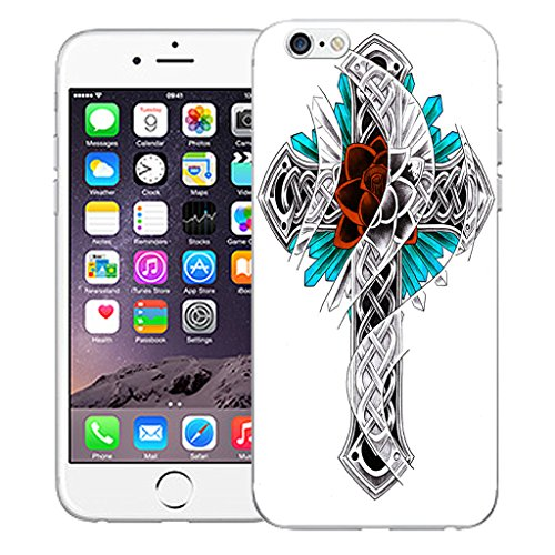 "Mobile Case Mate iPhone 6S Plus 5.5"" Silicone Coque couverture case cover Pare-chocs + STYLET - Tatoo Cross pattern (SILICON)"