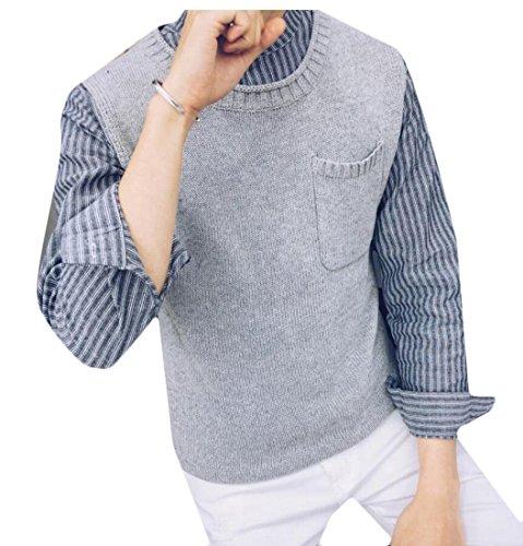 Warm Sleeveelss amp;W Knit Vest amp;S Sweater Men's Gery M Waistcoat xw7fRqaqt