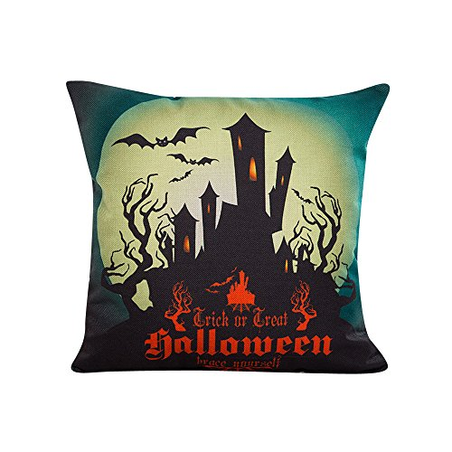 Halloween Fashion Linen Home Decor Bat Castle Cafe KIKOY Pillowcase Cushion Cover (B)