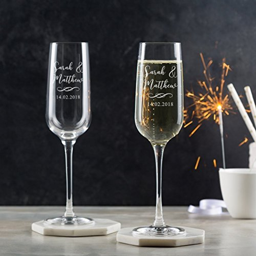 Personalized Wedding Champagne Flutes Pair/Personalized Champagne Glasses/Engagement Gifts For Couples/Personalized Wedding Gifts/Toasting Glasses For Bride And Groom -