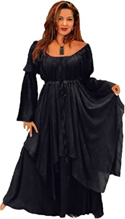 LOTUSTRADERS Boho Layered Dress Peasant Renaissance Crinkle Rayon U260
