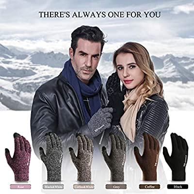 TRENDOUX Winter Gloves, Knit Touch Screen Glove Men Women Texting Smartphone Driving - Anti-Slip - Elastic Cuff - Thermal Soft Wool Lining - Hands Warm in Cold Weather - Black - M