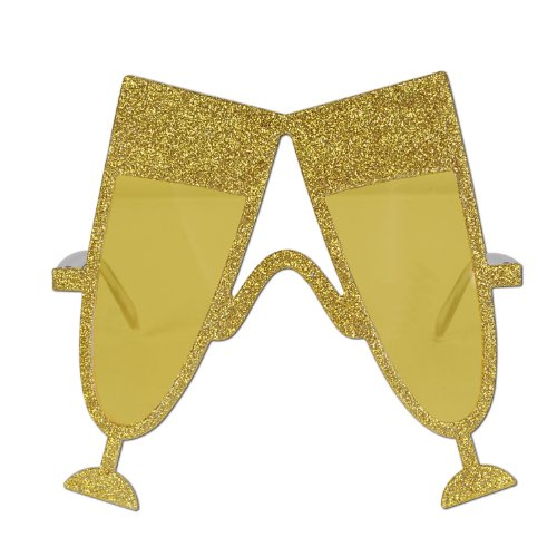 Glass Of Champagne Costume (Glittered Champagne Glass Fanci-Frames Party Accessory (1 count) (1/Pkg))
