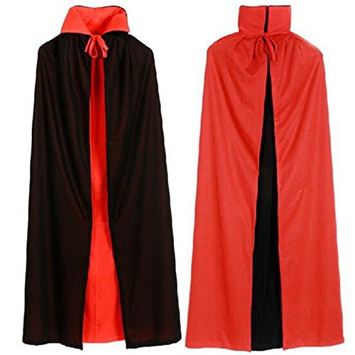 Black Red Reversible Dress Goth Devil Pirate Vampire Demon Cloak For Halloween Party Easter Christmas Adults Kids (Single Layer 140CM) -