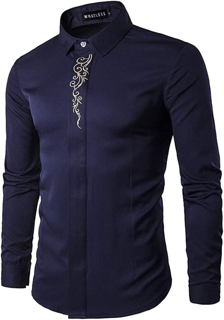 Yayu Men Embroidered Button Down Shirt Cowboy Western Long Sleeve Dress Shirts Dark Blue XXS