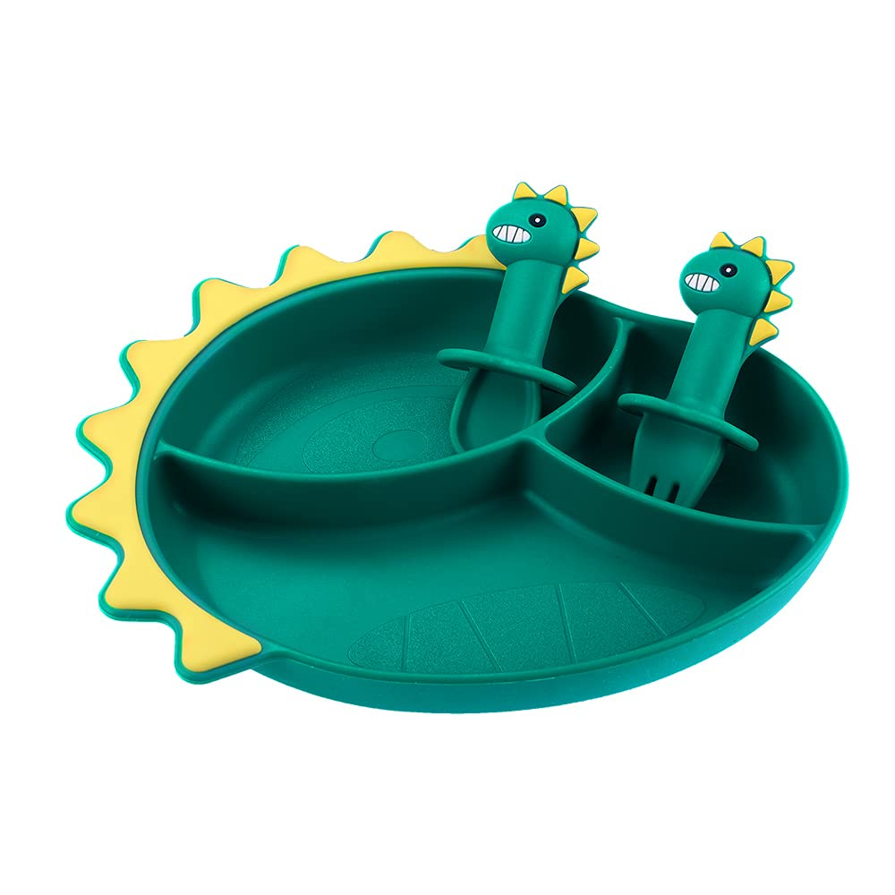 Vpqnee Dark Green Thickened Dinosaur Shaped and Divided Silicone Plate with Powerful Super Suction and Fork Spoon Set for Kids, Made of Food-Grade Silicone, Resistant to High and Low Temperatures
