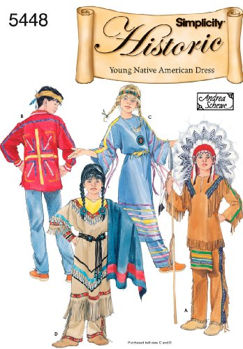 Warrior Princess Costume Pattern - Simplicity Andrea Schewe Pattern 5448 Boys and Girls Historic Young Native American Dress Costumes Sizes 3-4-5-6-7-8