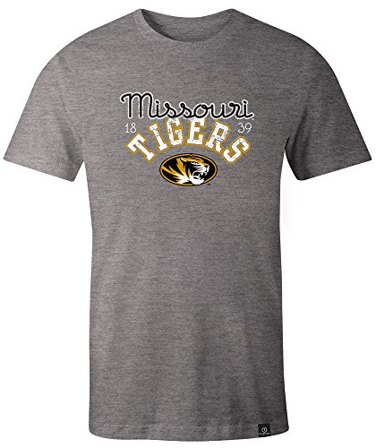 NCAA Missouri Tigers Adult Women NCAA Classic Arch Script Image One Women's Triblend Short sleeve T-Shirt, Medium,HeatherGrey