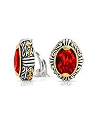 Bling Jewelry Bali Style Oval Red Simulated Ruby Crystal Two Tone Clip On Earrings Gold Rhodium Plated