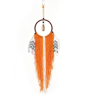 SUMJULY Feather Dreamcatcher Handmade Dream Catcher Net Wall Hanging Large Tassel With Stone Pendant