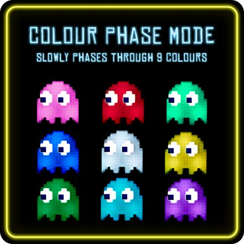 PacMan Ghost Light Table Lamp – 16 Color Options – Changes Colors to Music – USB Powered