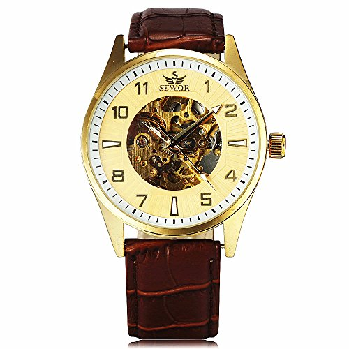 SEWOR Leather Band Mechanical Wrist Watch - 7