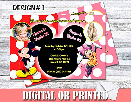 Mickey & Minnie Mouse Personalized Birthday Invitations More Designs Inside! -