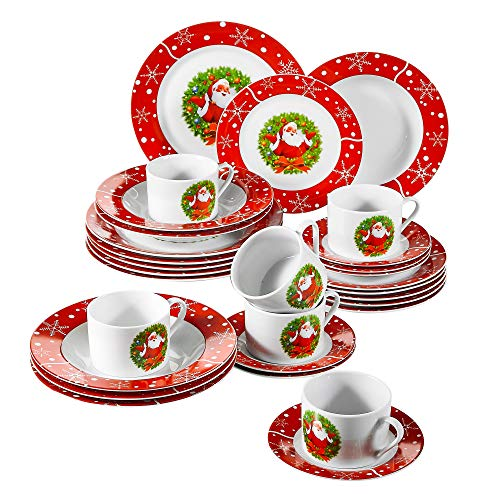 VEWEET 30-Piece Ceramic Dinnerware Set Porcelain Christmas Santa Claus Pattern Plate and Bowl set with Dinner Plate, Soup Plate, Dessert Plate, Saucer and Mug, Service for 6 (CHRISTMAS ()