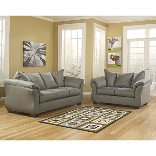 Microfiber Living Room Upholstery (Signature Design by Ashley Flash Furniture Darcy Living Room Set in Cobblestone Microfiber)