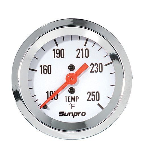 Gauge White Dial - Sunpro CP8207 Mechanical Water/Oil Temperature Styleline Gauge - White Dial