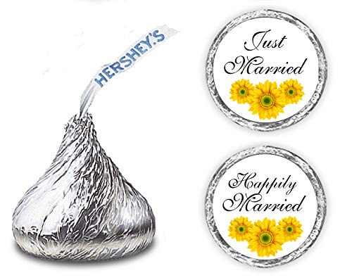 324 Sunflower Just Married Happily Married. Hershey Kiss Wedding Stickers, Floral Chocolate Drops Labels Stickers for Weddings, Bridal Shower Engagement Party, Hershey's Kisses Party Favors