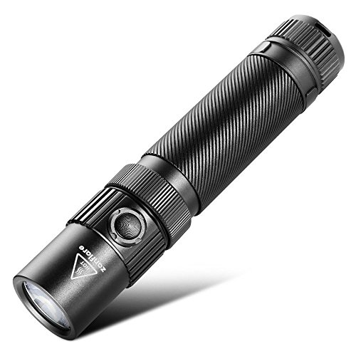 USB Rechargeable Tactical LED Flashlight, Zanflare F1 Flashlight with 7 Light Modes, IP68 Waterproof, Cree XP-L V6 1240 Lumen Torch with Safety Hammer, Battery Not Included, Neutral White