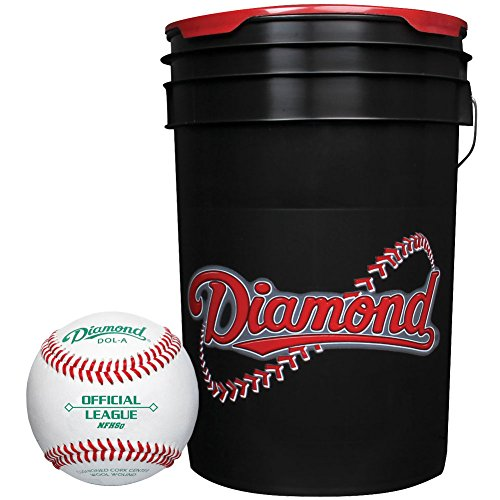 Diamond 6-Gallon Ball Bucket with 30 DOL-A Baseballs, Black by Diamond Sports