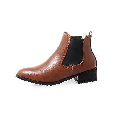 Botas de Mujer tacón bajo Botas Cortas Botines Botines Botas Redondas Chelsea 38: Amazon.es: Zapatos y complementos