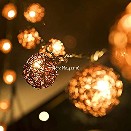 5m 20 Rattan Balls Lights Led String Fairy Holiday Christmas Lights Outdoor Guirlande Lumineuse Exterieur Luces
