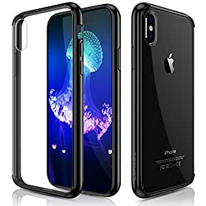 iPhone X Case, LOHASIC Clear Ultra Slim & Thin Crystal Transparent Hybrid Anti-Scratch Hard Back Cover Soft Flexible Bumper Grip Full Body Shockproof Protective Cases for Apple iPhone X 10-Black