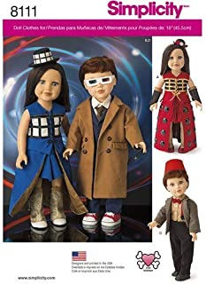 product image for Simplicity 8111 Time Travel Doctor Costume for 18'' Dolls 4 Pieces