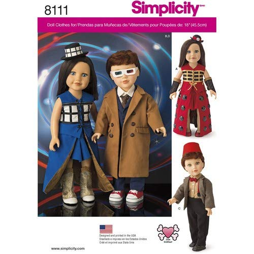 Simplicity 8111 Time Travel Doctor Costume for 18'' Dolls 4 Pieces (Best Time Travel Costumes)